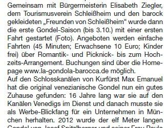 Lohhofer Anzeiger – Erste Gondelfahrt auf Schleißheimer Schlosskanälen