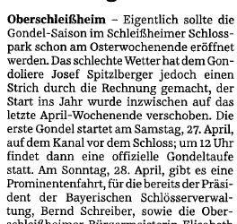 Süddeutsche Zeitung – Gondelsaison verzögert sich