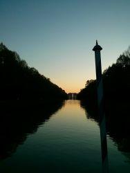 """Sonnenuntergang in der """"venezianischen"""" Schlossanlage Schleißheim"""