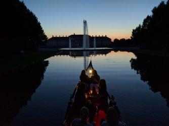 Abendstimmung bei romatischer Gondelfahrt in der Schlossanlage Schleißheim